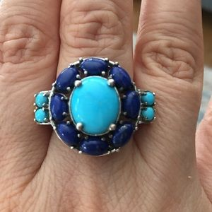 Sleeping beauty turquoise & lapis silver ring